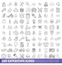 100 expedition icons set outline style vector