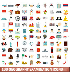 100 geography examination icons set flat style vector image