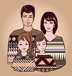 Classical family with two children vector