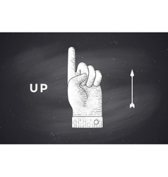 Drawing of hand sign with thumbs up in engraving vector