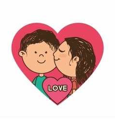 Couple characters with heart love vector