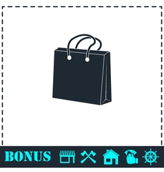 Shopping bag icon flat vector
