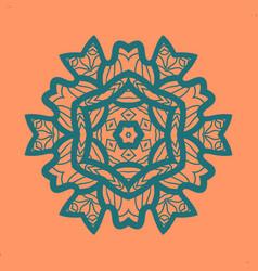 outlined print on orange color background mandala vector image