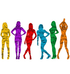 Grunge naked women silhouettes vector