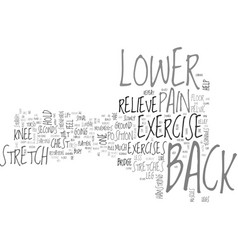 Back exercise lower pain relieve techniques text vector