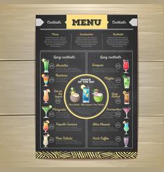 chalk drawing cocktail menu design vector image