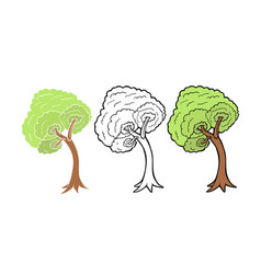 Tree isolated on white background line art and vector