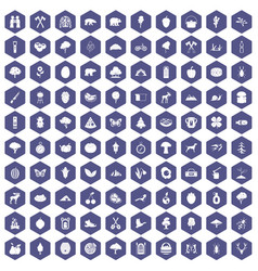 100 camping and nature icons hexagon purple vector