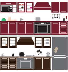 Kitchen unit set with equipment eps10 vector