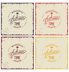 Set of vintage autumn card vector image