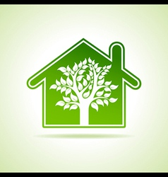 Eco home icon with tree vector