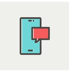 Empty speech bubble in smartphone thin line icon vector