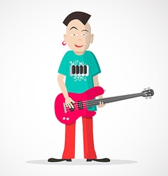 Bass guitar player - punk style isolated on light vector