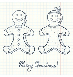 Gingerbread boy and girl vector