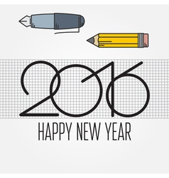 2016 and drawing tools new year and christmas flat vector