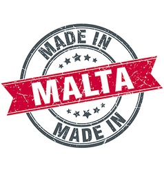 Made in malta red round vintage stamp vector