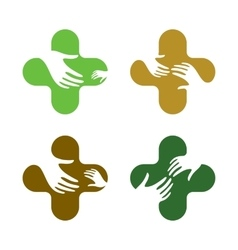 Abstract hand design sign love children vector