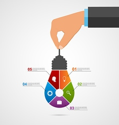 Abstract infographic with human hands holding vector image vector image