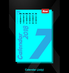 Calendar ui july image vector