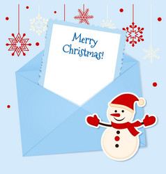 Christmas card with sticker snowman vector image vector image