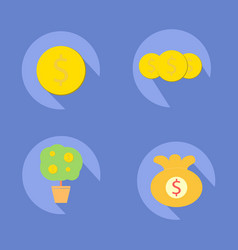 Coin icons with tree coin and bag coin vector