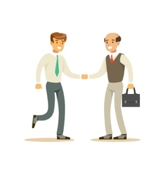 Colleagues shaking hands business office employee vector