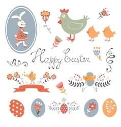 Colorful Easter related elements collection vector image