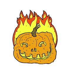 Comic cartoon burning pumpkin vector