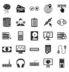 Computer server icons set simple style vector