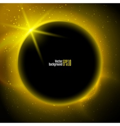 Eclipse planet in space in yellow rays of light vector image