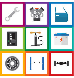 flat auto set of accumulator wheel pump vector image vector image