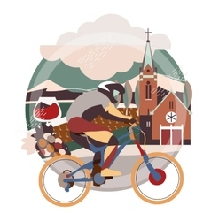Flat of downhill bicycle in europe vector