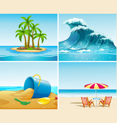 four scene of ocean at summer time vector image vector image