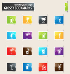 Glasses and cups bookmark icons vector