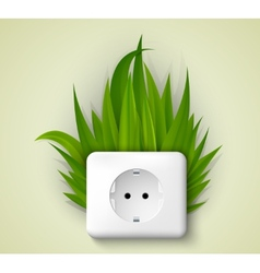 Green socket with grass vector
