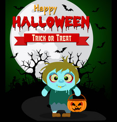 halloween background with kids zombie vector image vector image