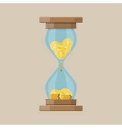 Hourglass clocks with dollar coins inside vector image vector image