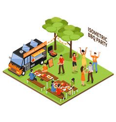 Isometric bbq party vector