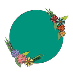 Label badge flower decoration empty vector