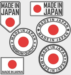 Made in japan label set with flag vector