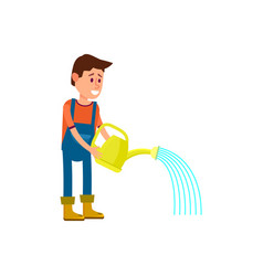 Male farmer watering icon vector
