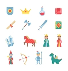 Medieval games symbols flat icons set vector