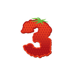 Number 3 strawberry font red berry lettering vector
