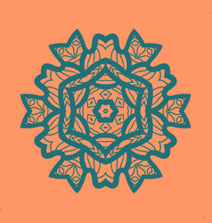 Outlined print on orange color background mandala vector