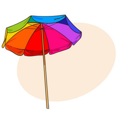 rainbow colored open beach umbrella sketch style vector image