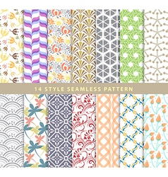 Set of various seamless pattern 14 style eps10 vector image vector image