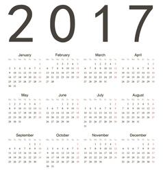 Simple european square calendar 2017 vector