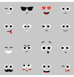 Sketches of funny smiley faces vector
