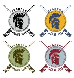 spartan fishing club labels with warrior head vector image
