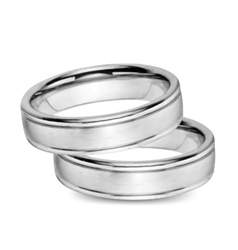 Wedding white gold rings vector
